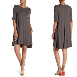 JOAN VASS Swing Dress Charcoal Lagenlook XS NWT